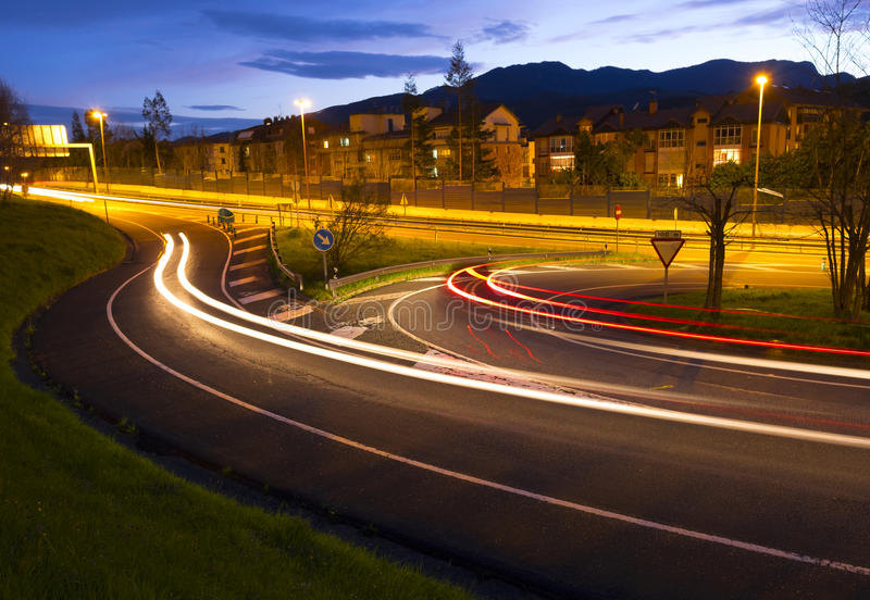Cars lights at night. Cars lights at night in the road stock photography