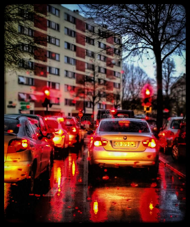 Cars lights. Rear cars lights in a french town royalty free stock photo