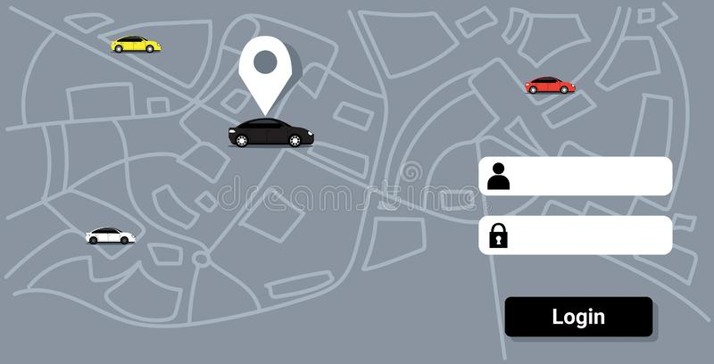 Cars with location pin on city map online ordering taxi car sharing concept mobile application transportation carsharing vector illustration