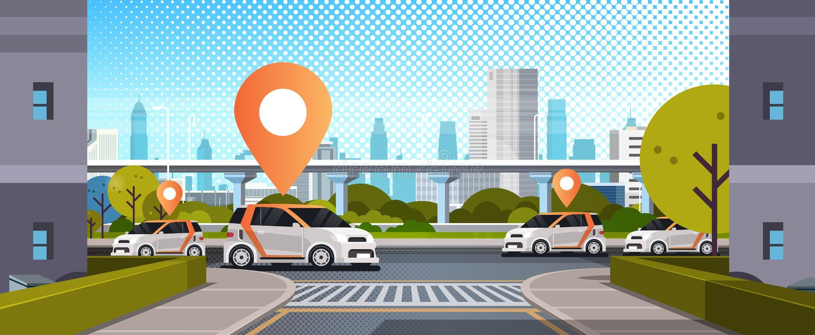 Cars with location pin on road online ordering taxi car sharing concept mobile transportation carsharing service modern. City street cityscape background flat stock illustration