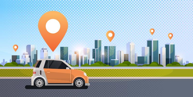 Cars with location pin on road online ordering taxi car sharing concept mobile transportation carsharing service modern. City street cityscape background flat royalty free illustration