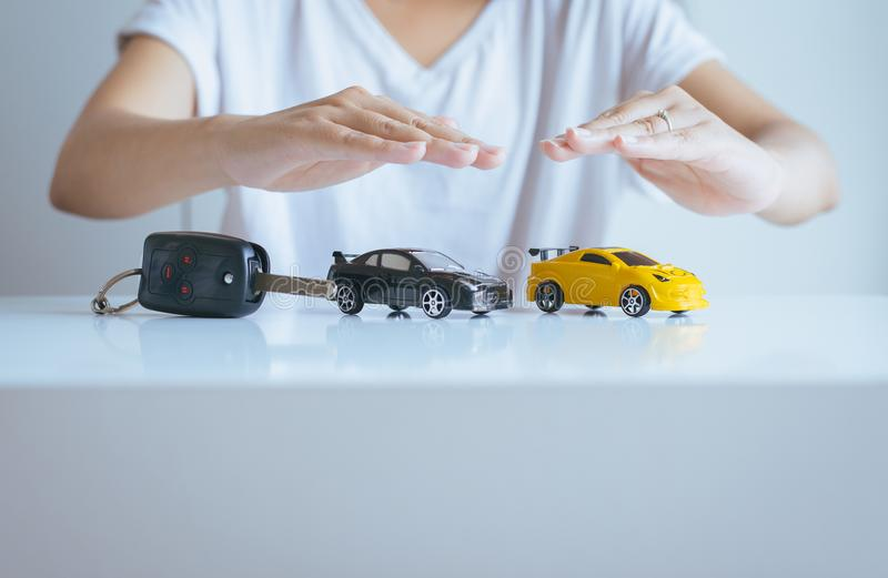 Car model with hand on table,Business and cars finance concept royalty free stock photos