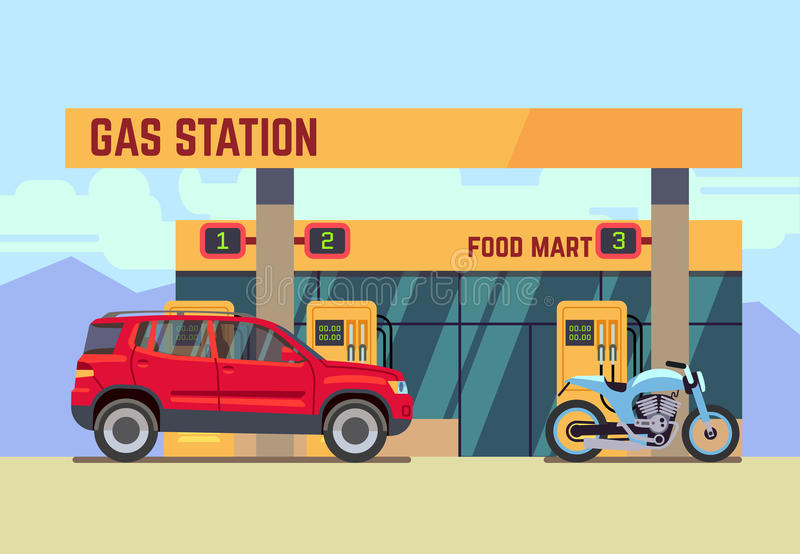 Cars and motorcycles at gas filling station flat vector illustration. Car and motorcycle at gas filling station. Car refueled at gas station flat vector vector illustration