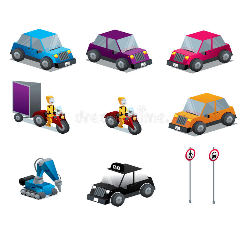 Cars Motorcycles and traffic signs set isometric vector illustration
