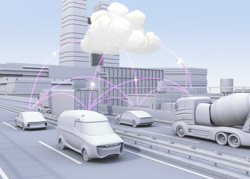 Cars on motorway sharing traffic information by computer network. Concept for connected car. 3D rendering image stock illustration