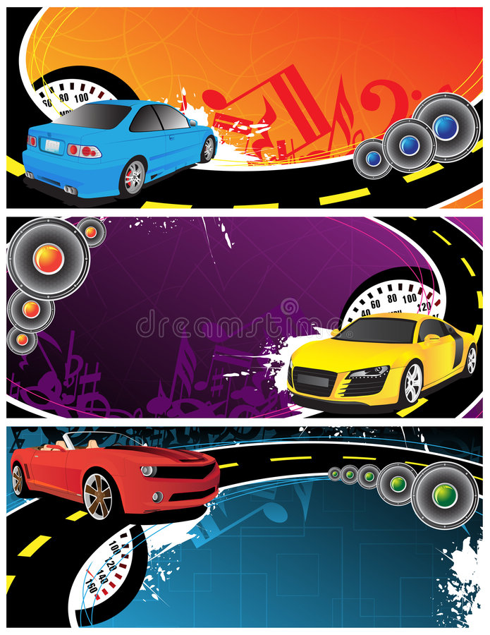Cars and music background. Cars and abstract music background