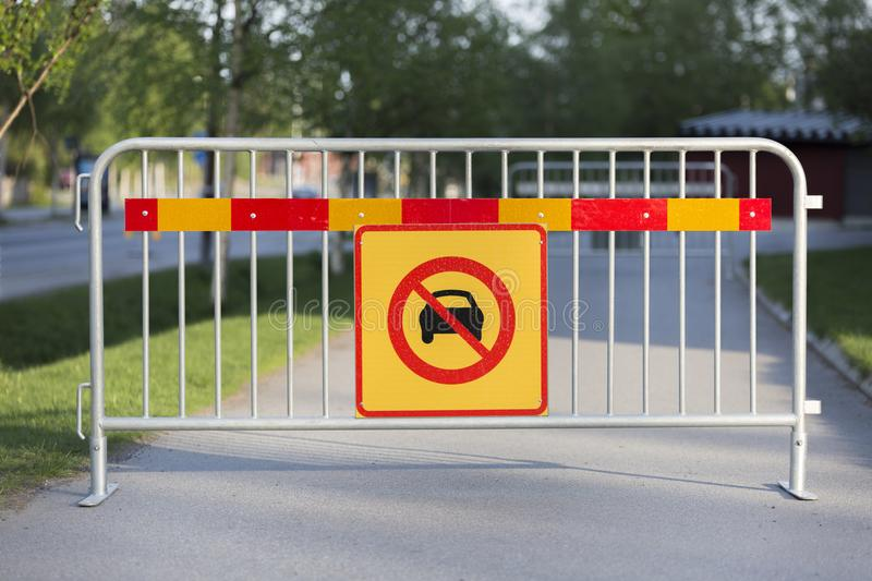 Cars Not Allowed Sign. On Fence stock photography