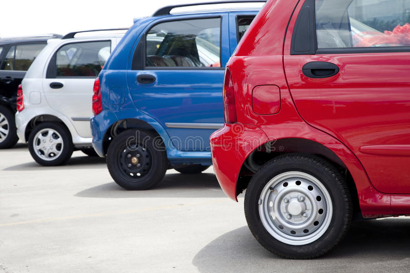 Cars parked stock photography