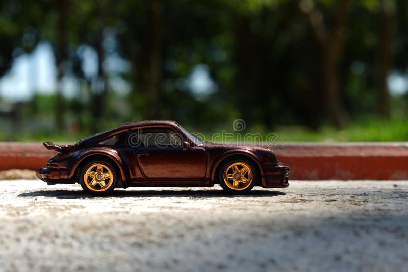 Car parked on the side of the road. stock photo