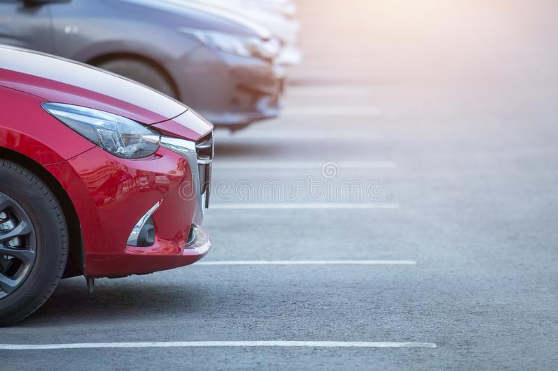 Cars parked in the parking lot, Close-up. Cars For Sale Stock Lot Row. Car Dealer Inventory.  stock photo