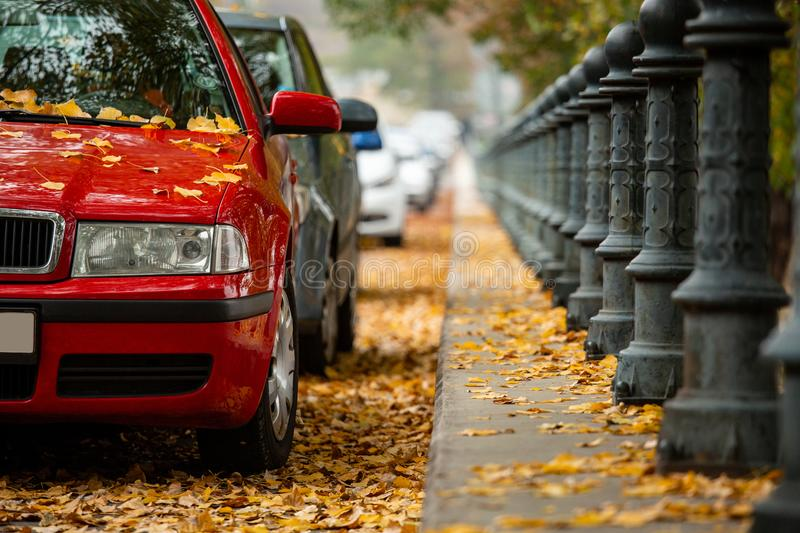 Cars parked on the street. Autumn in the city royalty free stock photos