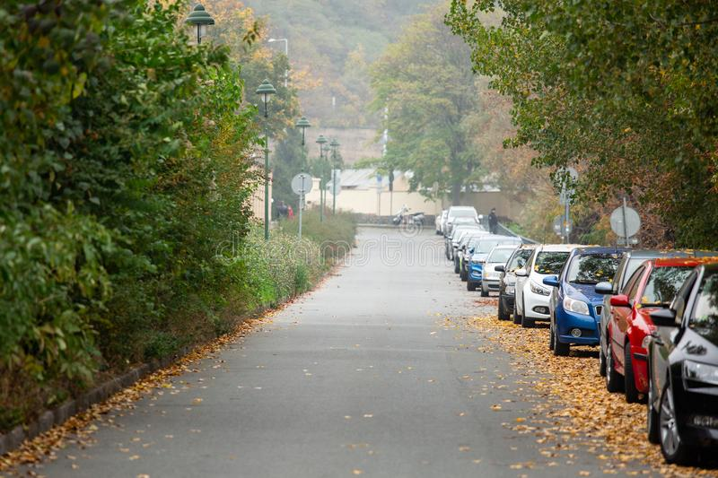 Cars parked on the street. Autumn in the city stock images