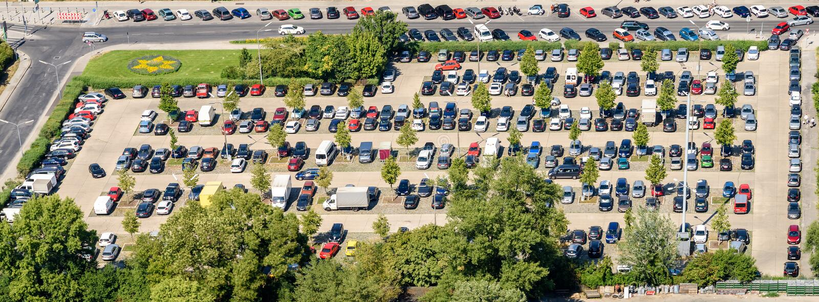 Cars Parking In Car Parking Lot stock photography