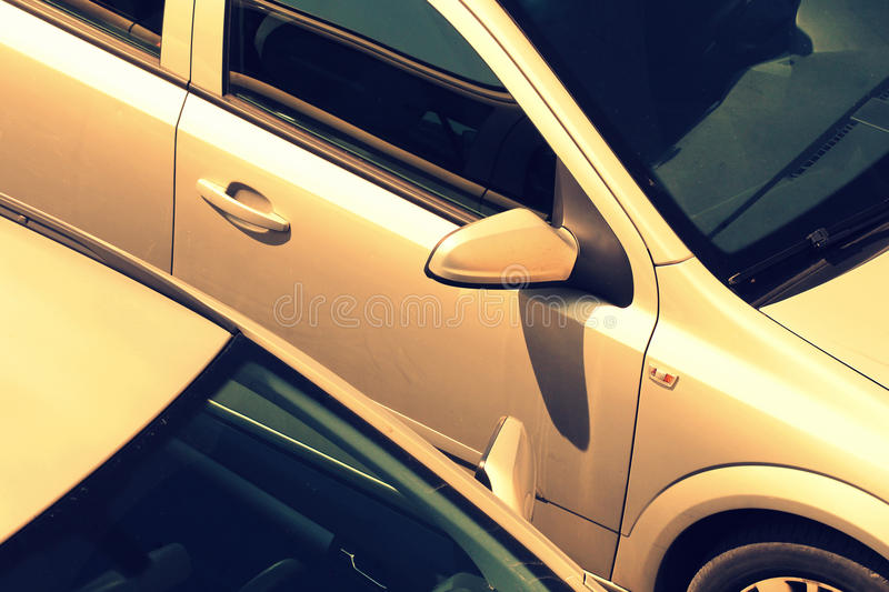 Cars in the parking lot. ( close up royalty free stock photos