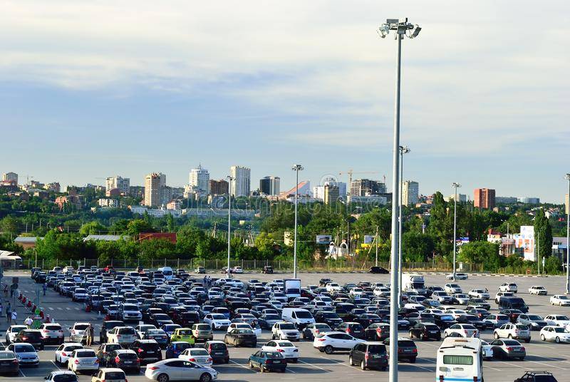 Cars in the parking lot near the shopping center. Rostov-don. Russia stock photo