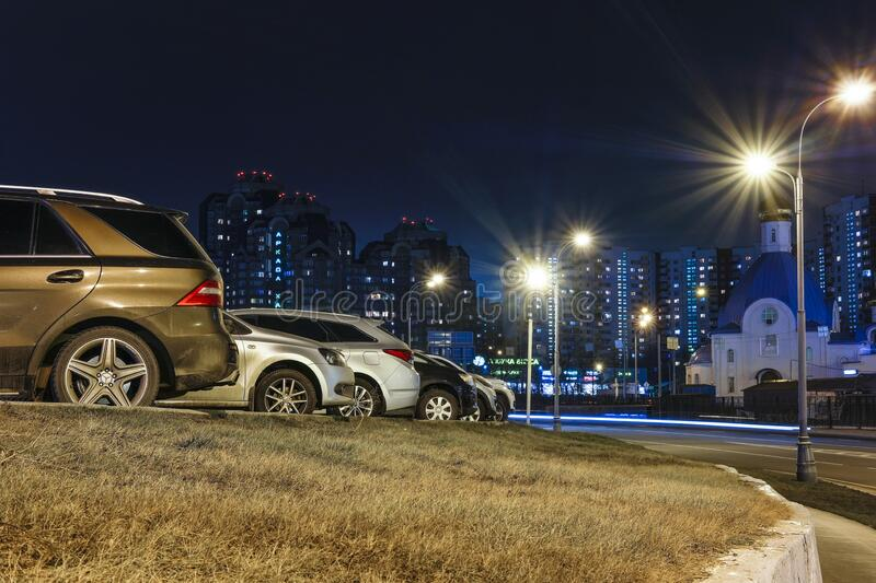 Cars on a parking in Moscow stock images