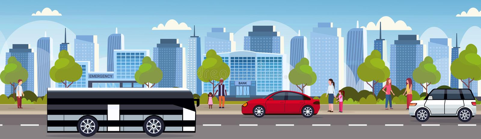 Cars and passenger bus driving asphalt road urban city panorama high skyscrapers cityscape background skyline flat. Horizontal banner vector illustration royalty free illustration