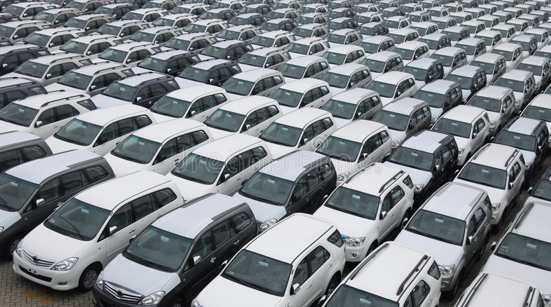 Cars pattern. In the parking area royalty free stock image