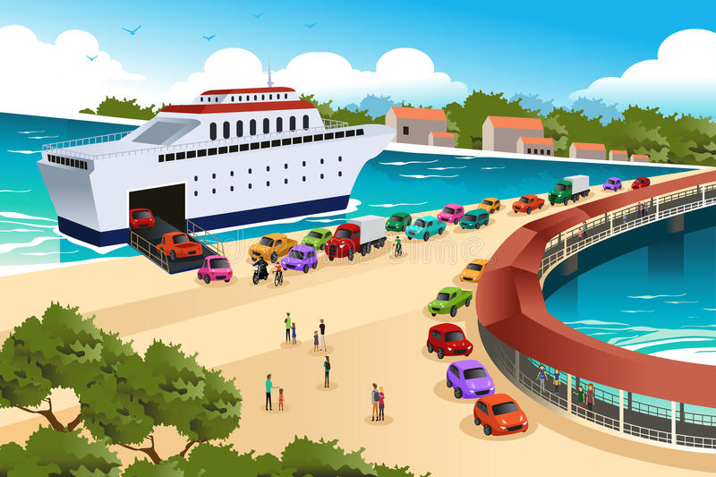 Cars Queuing Waiting for a Ferry stock illustration
