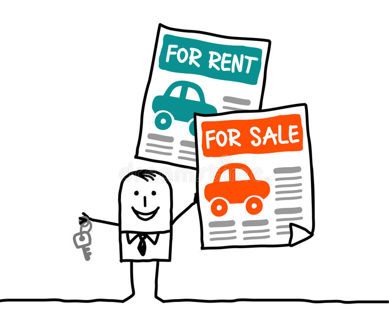 Cars for rent or sale royalty free illustration