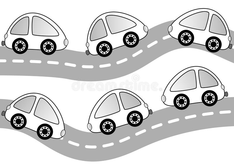 Cars On The Road Coloring Page Stock Illustration - Illustration of ...
