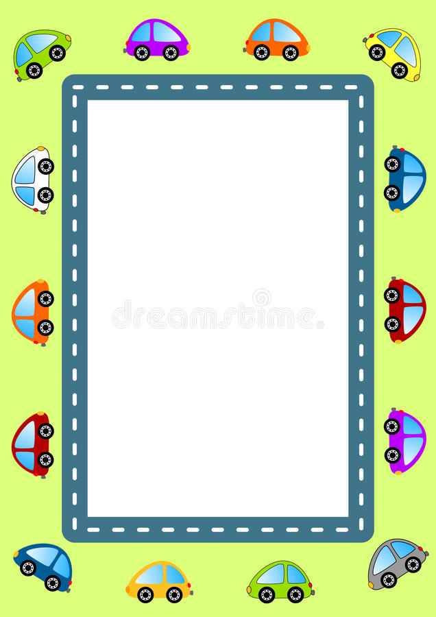 Cars and Road Frame royalty free illustration