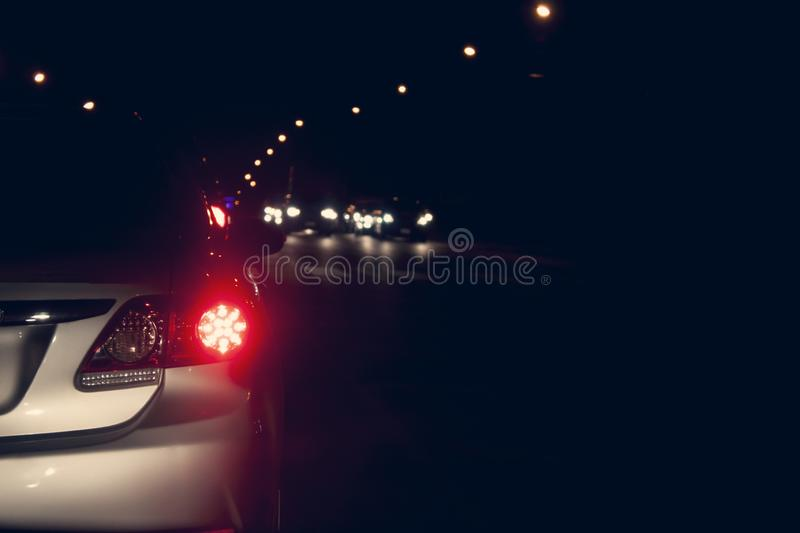 Car stop on the road at night. stock photo