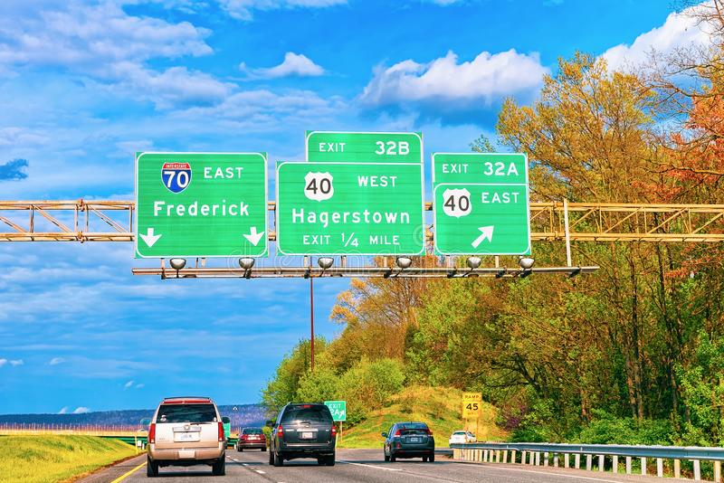Cars on road in Maryland. Hagerstown, USA - May 1, 2015: Cars on the road in Maryland, America stock image