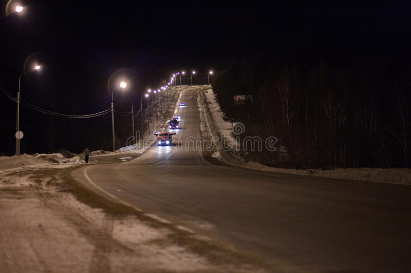 Download Cars on road at night stock photo. Image of recedes, hill - 24003038