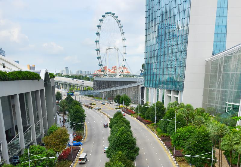 Cars road Singapore Flyer aerial royalty free stock images