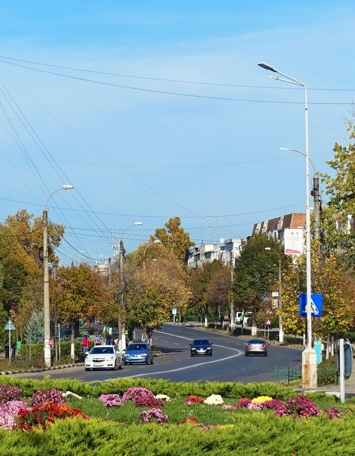 Traffic in Giurgiu city, Romania. Cars on the road. Traffic in Giurgiu city, Romania. Picture taken on 28.10.2018. A beautiful colored city, with good people stock photo