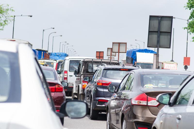 Cars on the road in traffic jam. Traffic situation in the Mumbai city. Pollution situation in India. royalty free stock image
