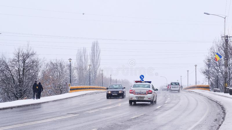 Cars on the road in winter stock photo