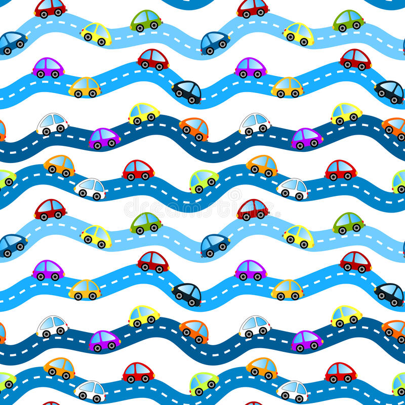 Cars on roads seamless background. Cars on horizontal roads seamless background pattern royalty free illustration