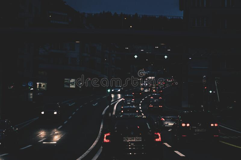Cars On Roadway At Night Free Public Domain Cc0 Image