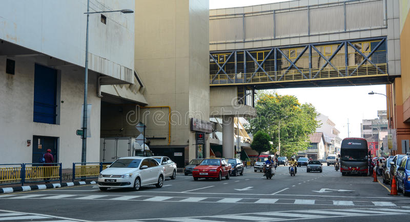 Cars run on street at Chinatown in Kuala Lumpur, Malaysia royalty free stock photo