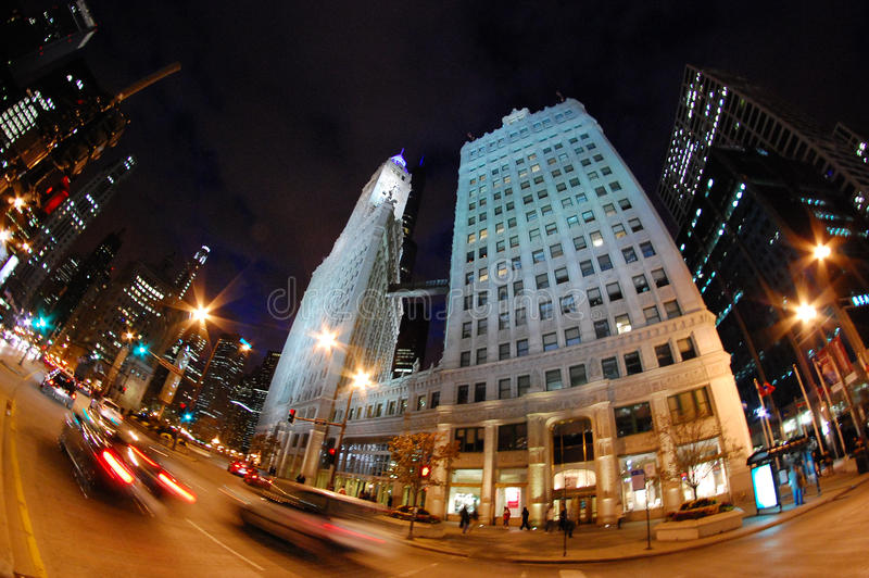 Cars Rushing Down Michigan Avenue in Downtown Chicago at Night - Fisheye royalty free stock image