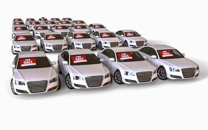 Cars for sale stock illustration