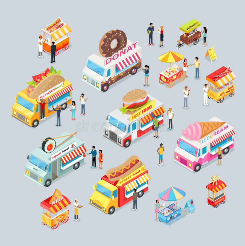 Cars For Sale Food And Drink. Shop On Wheels. Stock Vector ...