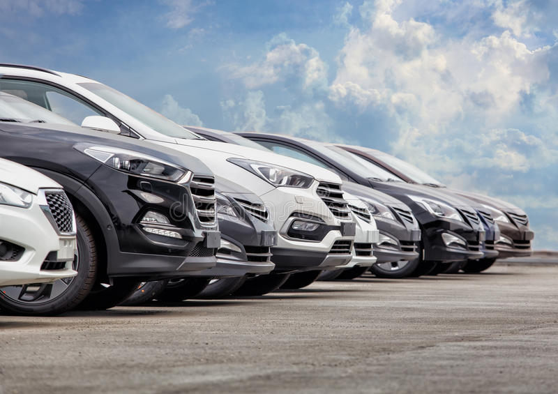 Cars For Sale Stock Lot Row royalty free stock photo