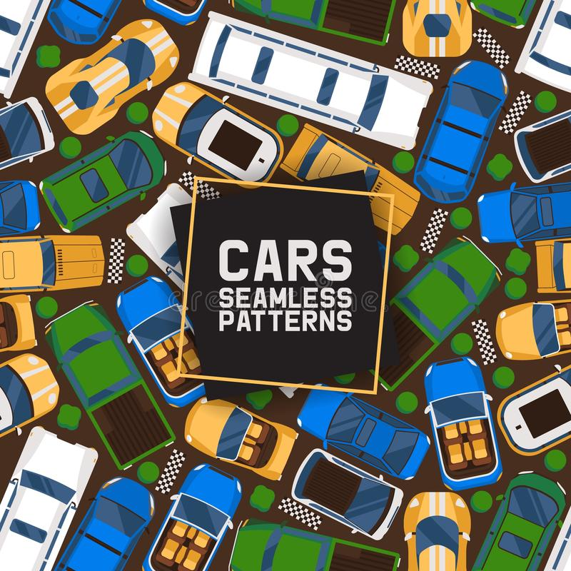 Cars seamless pattern vector illustration. Car, transport, transportation, transfer. Public service. Luxury, sport royalty free illustration