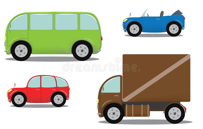 Cars set. Set of different cars on white background. Illustration royalty free illustration