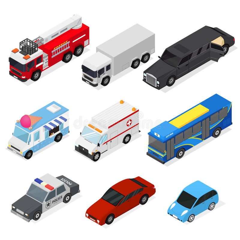 Cars Set Isometric View. Vector. Different Cars Set Isometric View City Urban Transportation Service and Personal Auto. Vector illustration stock illustration