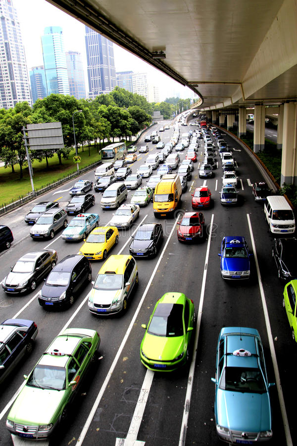 Cars in shanghai. Pic be shot in shanghai. cars in waiting traffic light royalty free stock photos