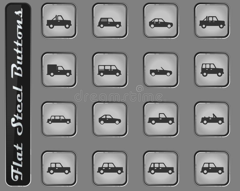 Cars simply icons. Cars web icons on the flat steel buttons vector illustration