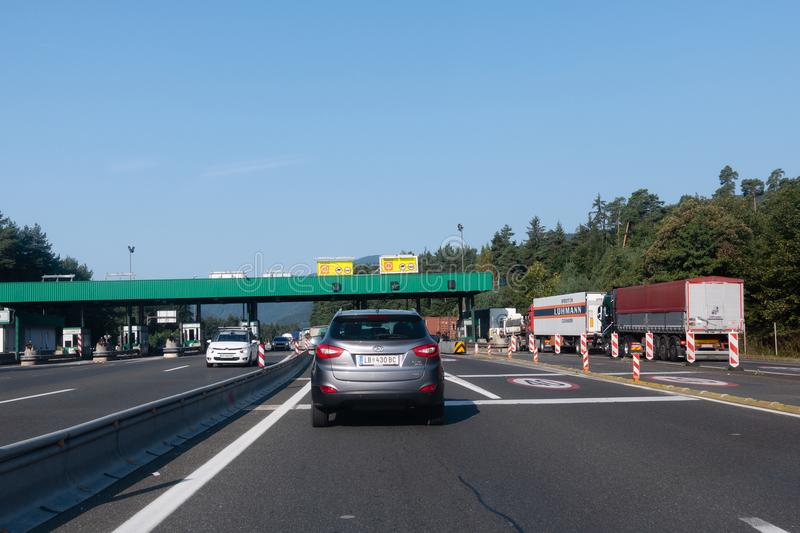 Cars standing still in lines on highway, a car accident caused traffic jam on the busiest highway in Slovenia between royalty free stock image