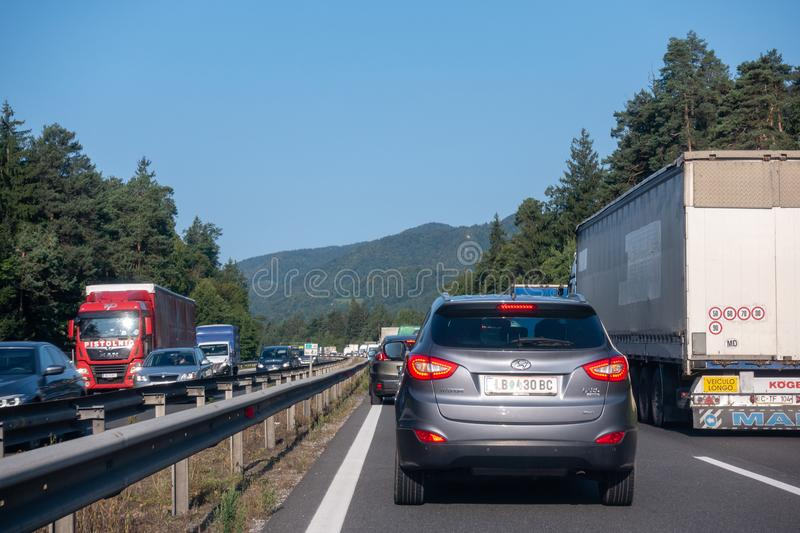 Cars standing still in lines on highway, a car accident caused traffic jam on the busiest highway in Slovenia between royalty free stock photo