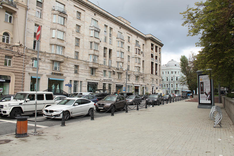 Cars standing at a traffic light, 3 Tverskoy Boulevard stock images
