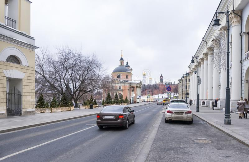 Cars on the streets of Moscow near the Kremlin, Moscow in winter royalty free stock photography