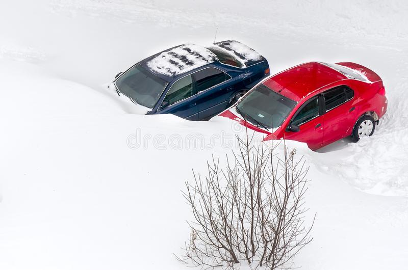 Cars Stuck in Snow After Heavy Snowstorm royalty free stock photos
